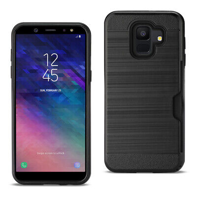 Reiko Samsung Galaxy A6 Slim Armor Hybrid Case With Card Holder In Black