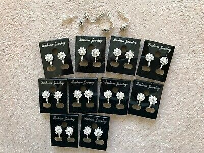 JOBLOT-10 pairs of CLIP ON crystal diamante rosette earrings. Silver plated.