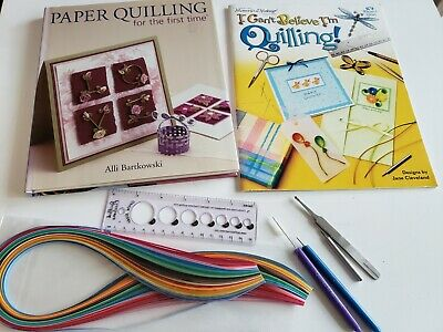 Lot of 2 Paper Quilling Books, Paper Strips, Tools and Supplies, Paper Crafting