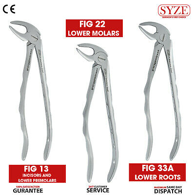 3X Tooth Dentist Extraction Extracting Forceps and Pliers Lower Promolars, Roots