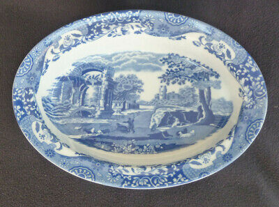Spode China Italian Blue & White 29 cm Oval  Serving / Pie / Vegetable Dish