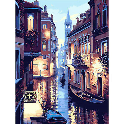 Beautiful Venice Night DIY Oil Painting by Numbers On Canvas (no framed)