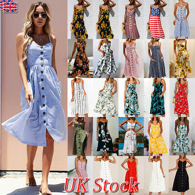Ladies Women Summer Holiday Print Casual Slip Dress Midi Sundress Beachwear 8-18