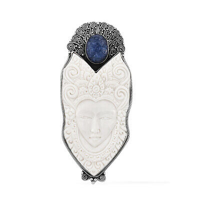 Bali Goddess Collection Carved Bone, Tanzanite Carved Sterling Silver Pendant wi