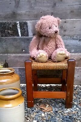 Woven seat top wooden stool teddy / doll display footstool vintage string rattan