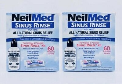 New 2 x Neilmed Sinus Rinse Kit 60 Premixed Sachets Saline Nasal Irrigation