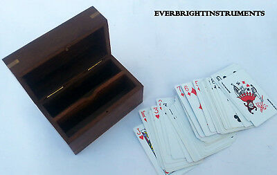 Vintage Wooden Playing Card Box Brass Inlay with Deck Cards