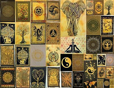 Tapestry Poster Collage Yellow Color Small Textile Home Decor Ethnic Cotton Art
