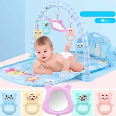 3 in 1 Fitness Baby Gym Play Mat Lay Play Music & Lights Fun Piano Blue XMAS UK