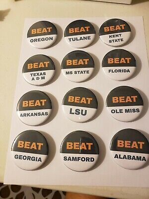 Auburn Tigers 2019 Football Schedule 2.25 Inch Pinback Button Set