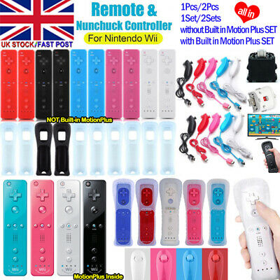 2 Set REMOTE CONTROLLER and NUNCHUCK FOR NINTENDO WII & WII U + SILICONE + STRAP