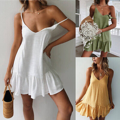 Fashion Lady Cotton Sexy V-Neck Sleeveless Ruffle Summer Casual Short Mini Dress