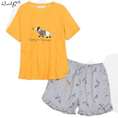 Cute Cartoon Pajamas Set Woman Short Sleeve Nightwear Summer Cotton Sleepwear Pj