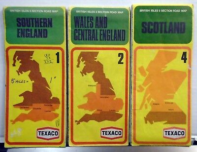 3 Vintage TEXACO Motoring Maps - Wales / Central / Southern England & Scotland