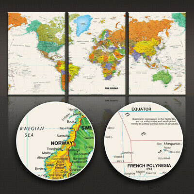 Set 3PCS Art Canvas Print Globe Geography World Map Paint poster Unframed P26