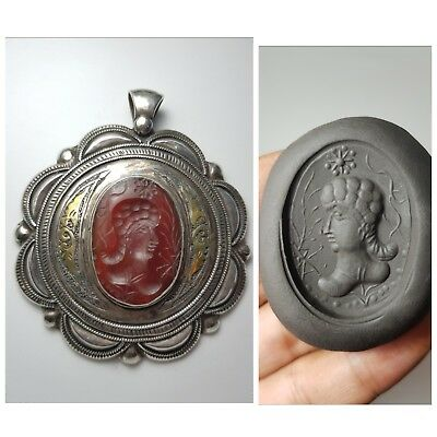 Very beautifull old agate intaglio set on gold gild silver pendant