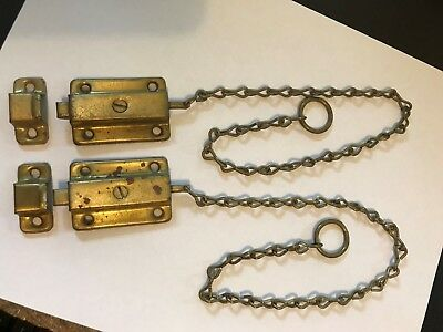 2 Antique Brass Plated Cabinet Cupboard Door Spring Load Window Latch Lock Catch