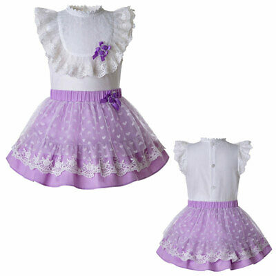 New Baby Girls Spanish Blouse+Skirt Set Prom Grown Party Pageant Summer Outfits
