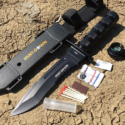"12"" Hunt-Down Brand Hunting / Combat / Survival Knife w/ Survival Kit & Sheath -"