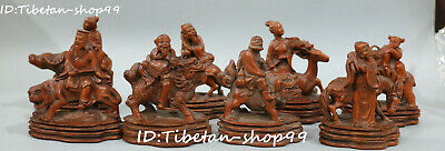 Old China Boxwood Wood Carving 8 Immortal God Ride Lion Horse Beast Statue Set