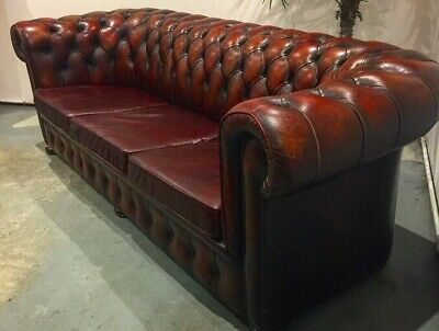 uk Delivery- VINTAGE OX BLOOD LEATHER CHESTERFIELD 3 SEATER SOFA , club Chair 2