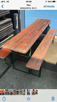 UK DELIVERY German Beerfest Sets Garden Industrial Dinning Table Chair Bench