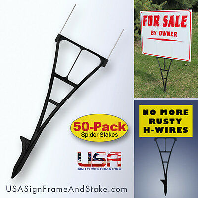 Yard Sign Stakes - H-Wire Yard Stakes Alternative that Won't Rust - 50-PACK