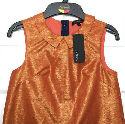 Girls Top Blouse M&S Autograph Luxe Gold Peter Pan Collar Lined 8-9Y BNWT Marks