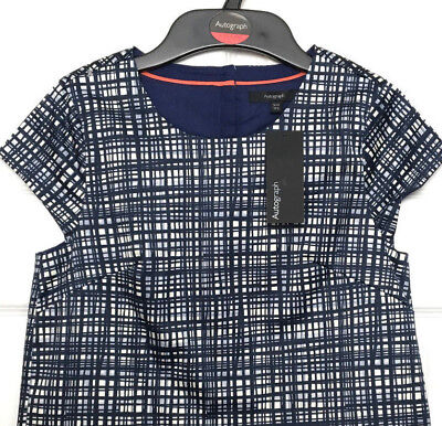 Girls Top Blouse M&S Autograph Blue Check Lined Cotton Stretch 9-10Y BNWT Marks