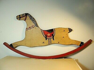 Antique ROCKING HORSE c Early 1900s Upcycled to Wall Hanging ~ Primitive Decor