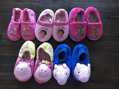 5 Pairs Of Girls Slippers Size 6-9  Peppa, Dorothy,George,Dora Used