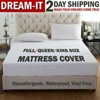 Mattress Cover Protector Waterproof Pad Full/Queen/King Size Mattress Bed Cover