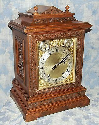Antique Oak TING TANG Bracket Mantel Clock : Winterhalder & Hoffmeier W & H (96)