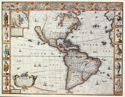 Vintage Map Print For Framing Of An Antique 1627 Map Of America  By John Speed