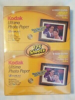 Kodak Ultima Photo paper High Gloss borderless 4 x 6 Inkjet 175 Sheets Unopened
