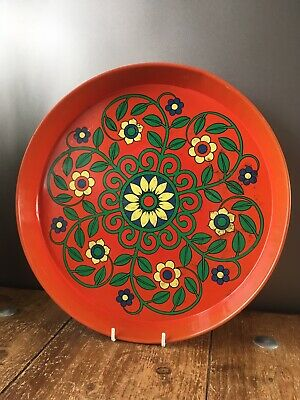 Vintage Retro Flower Power Floral Pattern Tin Drinks Serving Tray Worcester Ware