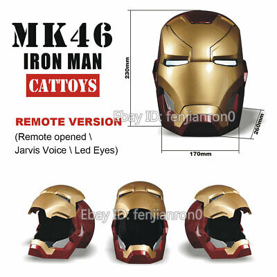 Remote Version CATTOYS 1:1 Iron Man MK46 LED Helmet Replica with Jarvis Voice