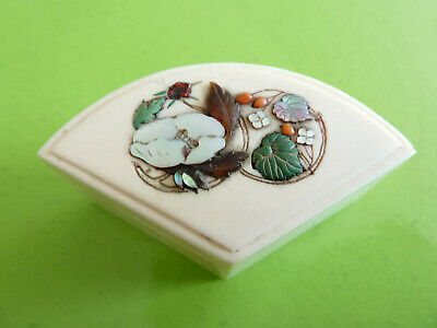 Finest Quality Antique Japanese Genuine SHIBAYAMA Fan Shaped Box