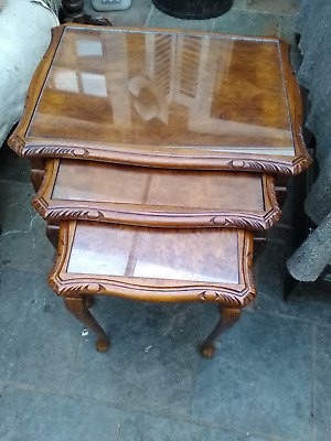 vintage antique burr walnut nest of tables