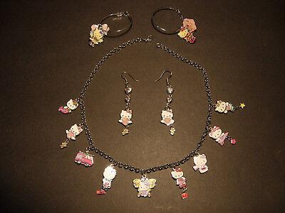 Hello Kitty Jewelry - Lucky charms necklace + Earrings - Super Kawaii - Lolita