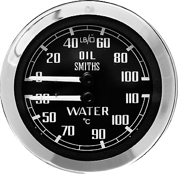 NEW SMITHS CLASSIC DUAL TEMP AND OIL PRESSURE Gauge oC Temp Range