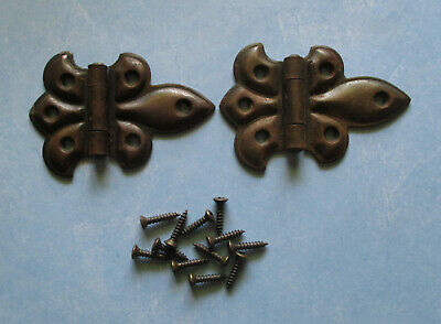 "Vintage butterfly flush hinges 3"" copper flash pie safe cupboard cabinet hoosier"
