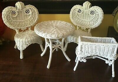"""Antique Victorian Style Vintage Wicker Set Small 14"""" High - Very Nice"""