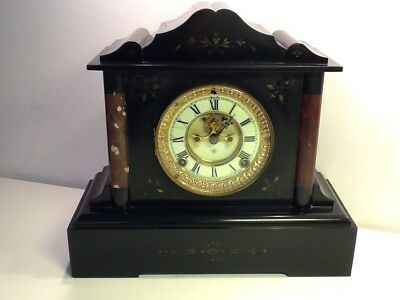 Antique Victorian Black Slate & Marble Open Escapement Mantel Clock, for repair