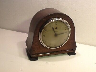 Vintage TEMCO Electric Oak mounted Domed Mantel Clock,Chrome mount,spares/repair
