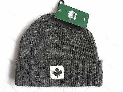 ROOTS CANADA Wool Charcoal Flag Beanie Hat Toque UNISEX NEW Cuff Tags