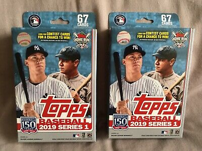 2x 2019 Topps Series 1 Hangar Box w/ 6 Yellow Parallel Baseball Cards Walgreens