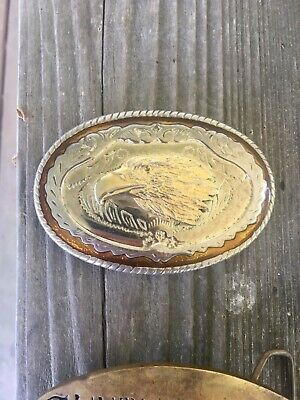 Antique brass belt buckles Vintage Eagle Made in USA Country music belt buckle