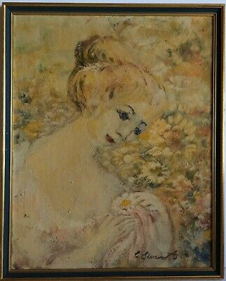 Lovely Impressionist Portrait Young Woman Oil on Artboard circa 1970s