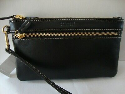 ~*Nwt Barneys New York Black Leather  Double Zip Wallet / Wristlet